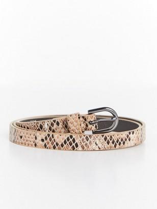 Kapea käärmeennahkakuvioitu vyö Beige