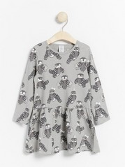 Grey long sleeve tunic with owl pattern Grey