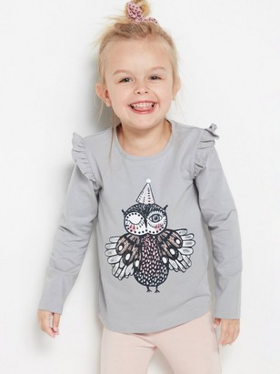 Grey top with owl print and frill shoulders Grey