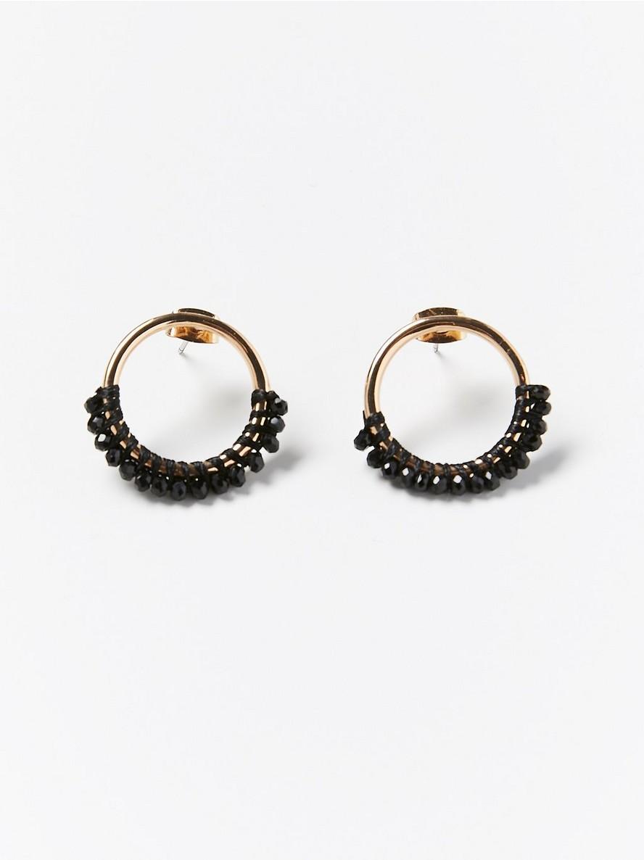 Små runda örhängen med svarta pärlor  Svart