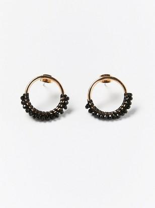Pyöreät korvakorut, joissa mustia helmiä Musta