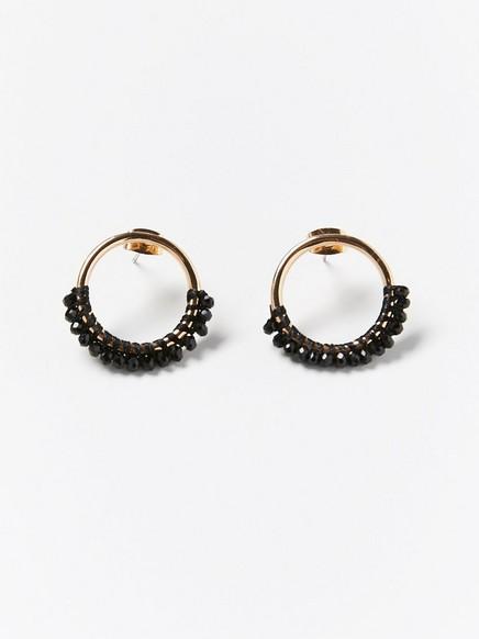 Runde øredobber med svarte perler Svart