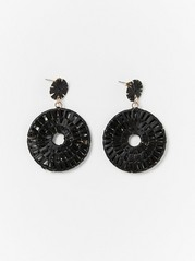 Black Straw Earrings  Black