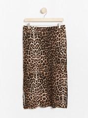 Leopardikuvioitu hame lyocell-sekoitetta Beige