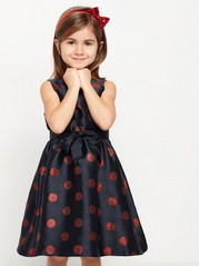 Mørkeblå kjole med glitrende, røde prikker Blå