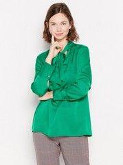 Satin blouse with tie band Green