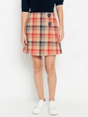 Checked wool blend skirt Beige