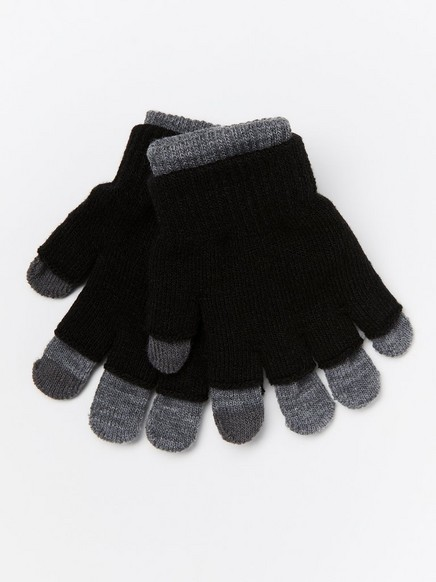 Double fine-knit gloves Black