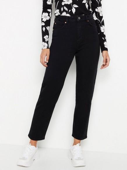 Svart jeans med høyt liv og avkortede ben Svart