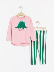 Set with top and leggings with dinosaur print Pink