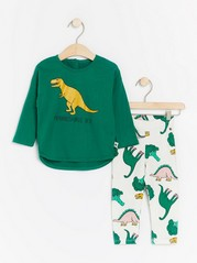 Set with top and leggings with dinosaur print Green