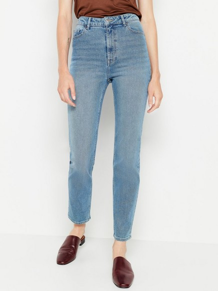 Ljusblå high waist-jeans Blå