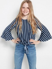Striped blouse with tie front Blue