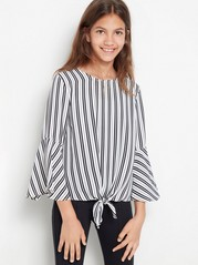 Striped blouse with tie front White