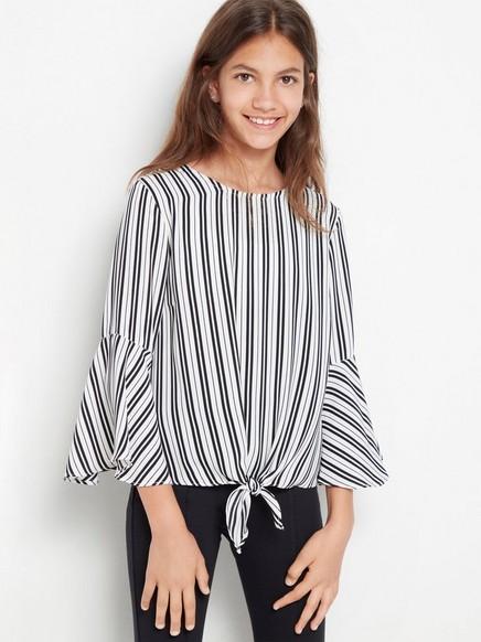 Stripet bluse med knyting foran Hvit