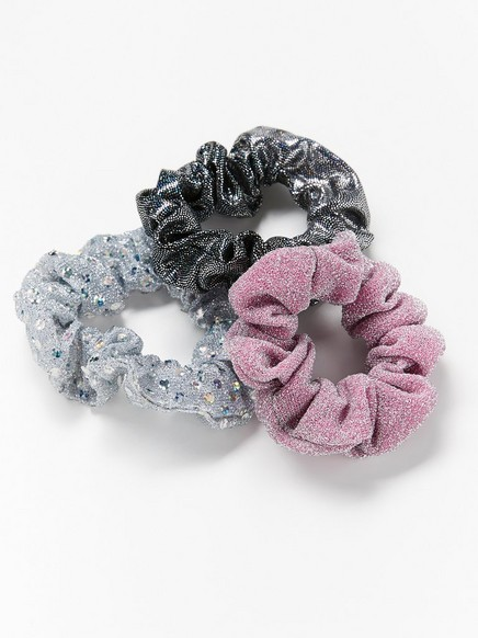 3-pack glittery scrunchies Black