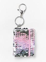 Kirjan muotoinen avaimenperä, jossa käännettävät paljetit Vaaleanpunainen