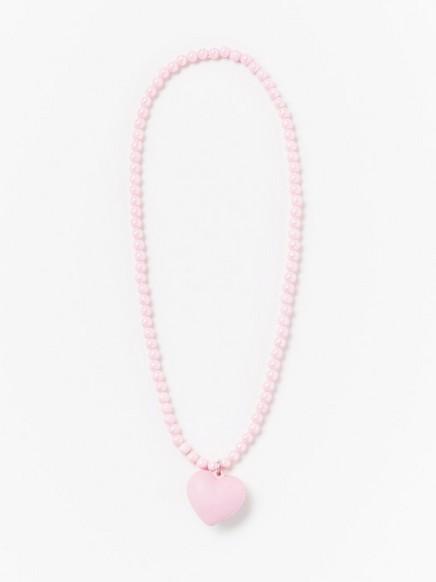 Rosa, elastisk halskjede med mykt hjerteanheng Rosa
