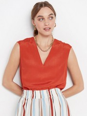 V-neck viscose blouse  Orange