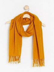 Woven scarf with fringes  Yellow