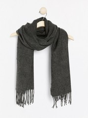 Woven scarf with fringes  Grey