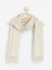 Woven scarf with fringes  White