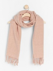 Woven scarf with fringes  Pink