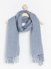Woven scarf with fringes  Blue