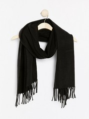 Woven scarf with fringes  Black