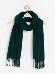 Woven scarf with fringes  Green