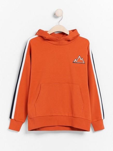 Oversized orange hooded sweater with side stripes Orange