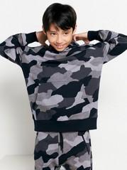 Oversize huvtröja med camouflage-mönster Svart