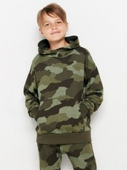 Oversized hooded sweater with camouflage pattern Green