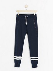 Dark navy sweatpants with stripes Blue