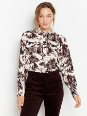 Long sleeve patterned blouse  Beige