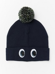 Knitted cap with eyes and pompom Blue