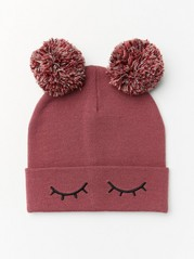 Knitted cap with eyes and pompom Pink