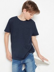 Short sleeve slub jersey t-shirt Blue