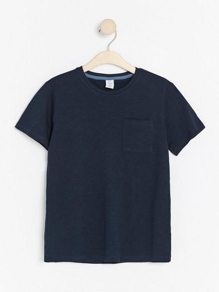Kortermet T-skjorte i slub-jersey Blå