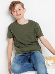 Short sleeve slub jersey t-shirt Green