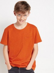 Short sleeve slub jersey t-shirt Orange
