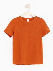 Kortärmad t-shirt i slubtrikå Orange