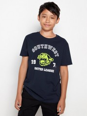 Dark navy t-shirt with neon tiger and text print Blue