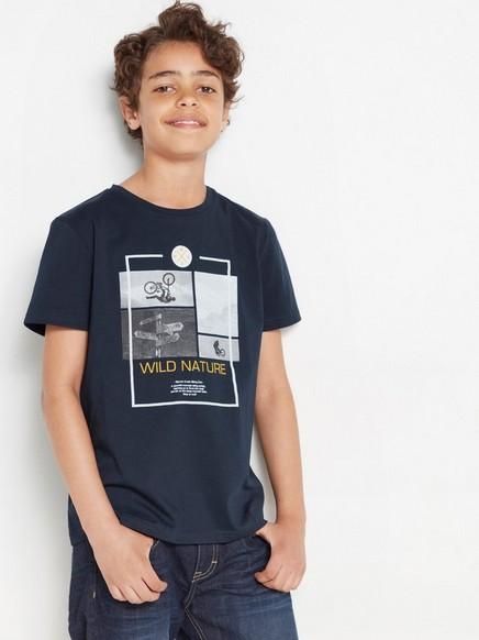 Tummansininen t-paita, jossa painatus Sininen