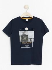 Dark navy t-shirt with print Blue