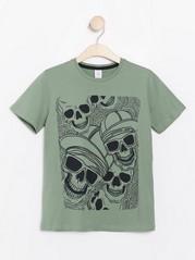 Kortermet T-skjorte med trykk Kaki