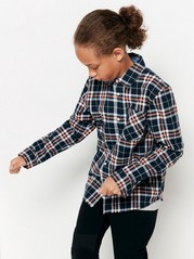Checked flannel skirt Blue