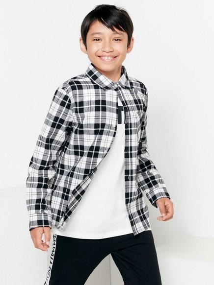 Kostkovaná flanelová košile Černá