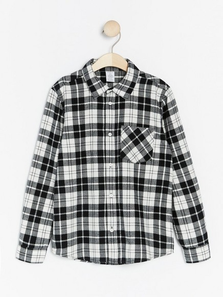 Checked flannel skirt Black
