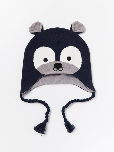 Knitted bear cap with ears Blue